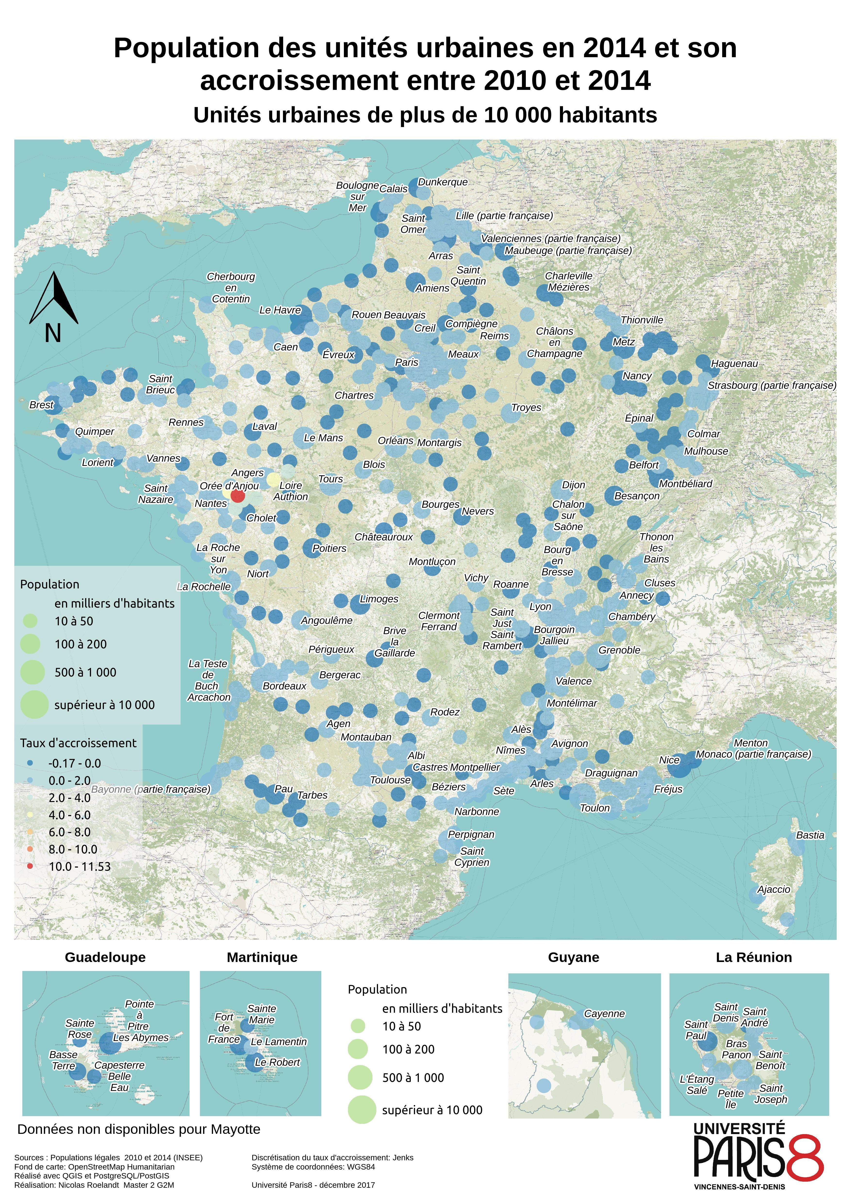 French Urban Population growth between 2010 and 2014 map